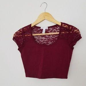 NWOT Maroon Lace Crop Top